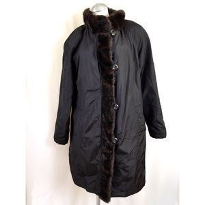 Gallery Size L Black Brown Faux Fur Trim Coat